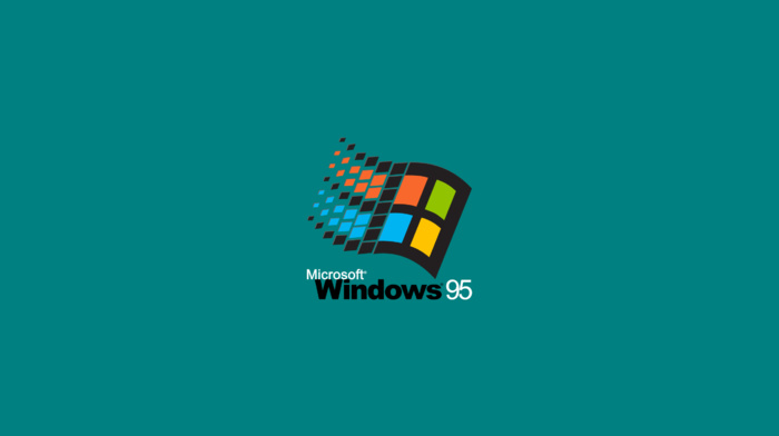 nostalgia, window, computer, Microsoft Windows, Microsoft, minimalism, Windows 95, green background, simple background, logo, operating systems, simple, vintage