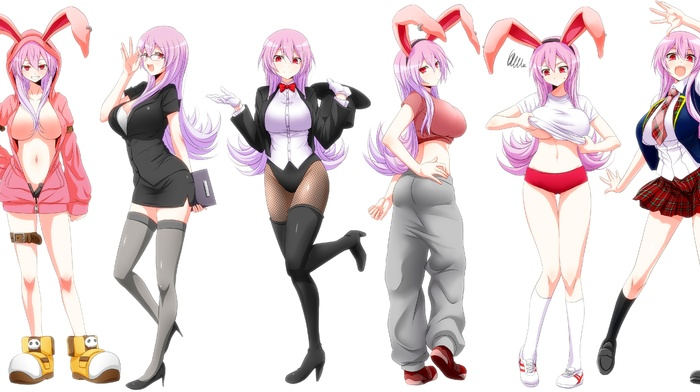 open shirt, underboob, undressing, anime girls, anime, gym clothes, animal ears, no bra, original characters, pink hair