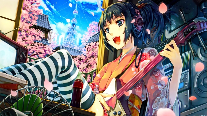 guitar, Japanese clothes, headphones, brunette, blue eyes, city, anime girls, short hair, Asian architecture, anime, open mouth, cherry blossom, kimono, original characters