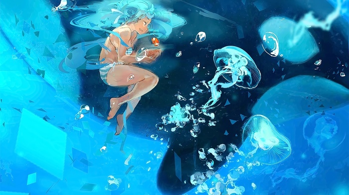 anime, anime girls, jellyfish, underwater, Vocaloid, Hatsune Miku