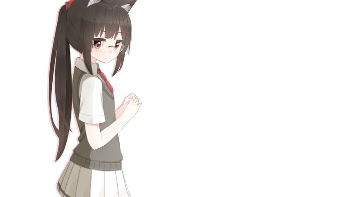 skirt, Choukai KanColle, Kantai Collection, anime girls, tail, bell, cat girl, anime, black hair, gloves, nekomimi, glasses, animal ears, white background, dark hair, long hair