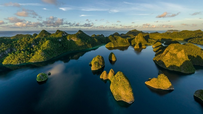 aerial view, tropical, Eden, Indonesia, sea, island, nature, Raja Ampat, sunset, landscape