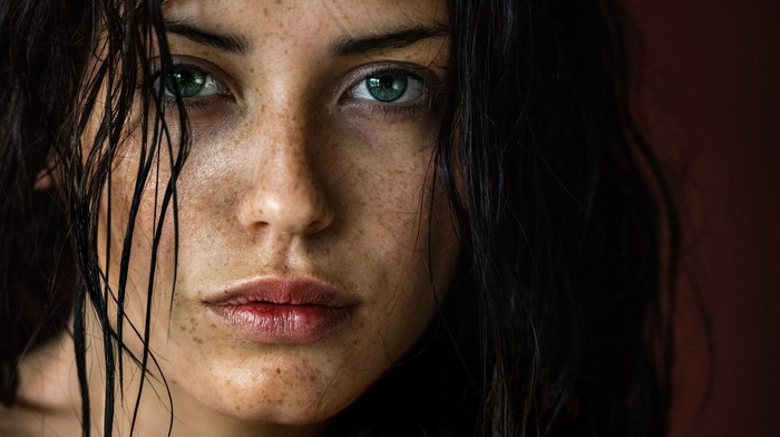 green eyes, freckles, brunette, girl, face, looking at viewer