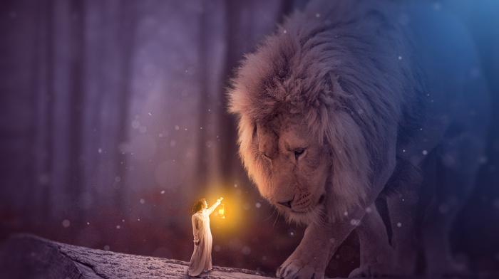 fantasy art, magic, girl, lion, fantasy girl, MohammadKhan, photo manipulation