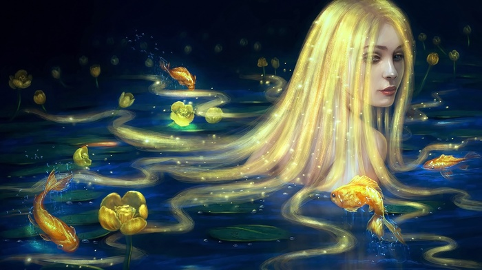 original characters, flowers, anime girls, fish, blonde, long hair, anime