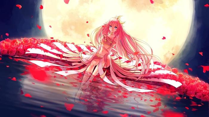 flower petals, Vocaloid, moon, anime girls, rose, anime, ia vocaloid