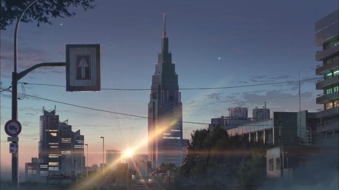 Makoto Shinkai, sunset, flares, city, signs, anime, building