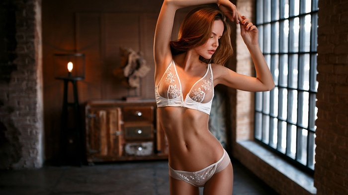 white lingerie, lingerie, girl, freckles, redhead, arms up, nipples through clothing, model, window