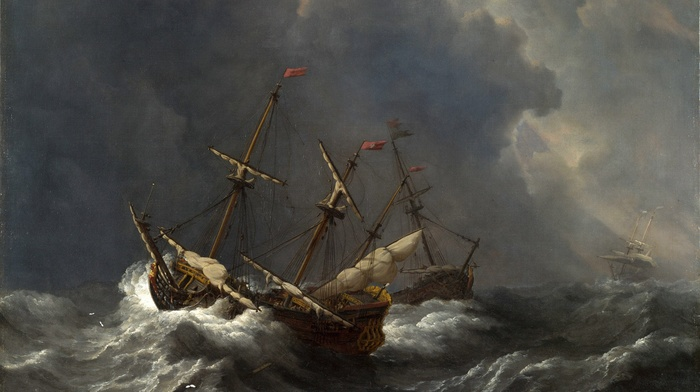 artwork, ship, Willem van de Velde, painting