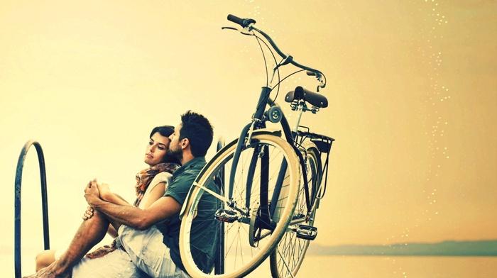 girl, men, hugging, emotion, couple, love, bicycle
