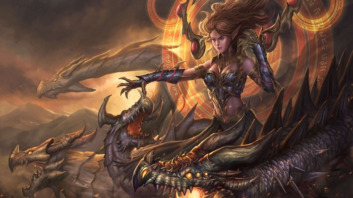 artwork, dragon, magic, elves, girl, fantasy art