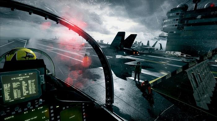 aircraft carrier, cockpit, military, Battlefield 3, video games, McDonnell Douglas FA, 18 Hornet