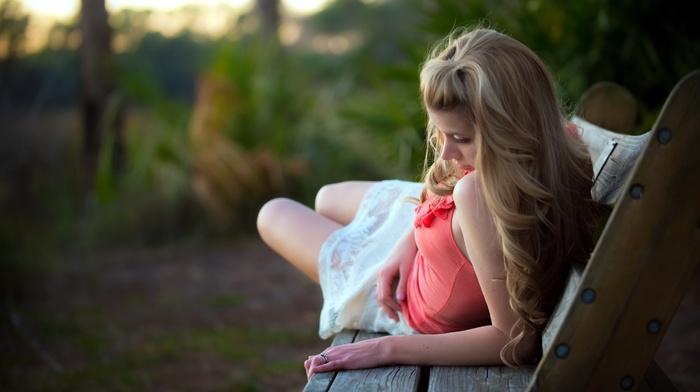 white skirt, bare shoulders, blonde, lying on side, depth of field, girl outdoors, girl, model, bench, wavy hair, tank top, long hair, nature, legs, plants