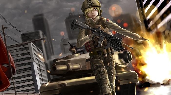 original characters, weapon, tank, female soldier, uniform, anime girls, M4, anime, army girl, M1 Abrams, gun, battlefield