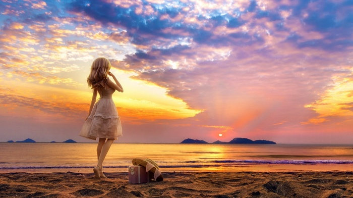 sand, clouds, sea, toys, Doll, miniatures, beach, white dress, long hair, sunset, hat, water, blonde, nature, suitcase