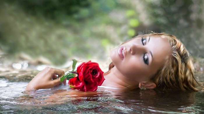 blonde, girl, long hair, model, girl outdoors, flowers, makeup, water, open mouth, wet hair, nature, closed eyes, wet body, depth of field, rose
