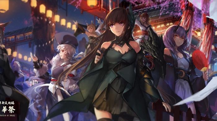 dress, Japanese clothes, building, horns, animal ears, swd3e2, black hair, anime girls, original characters