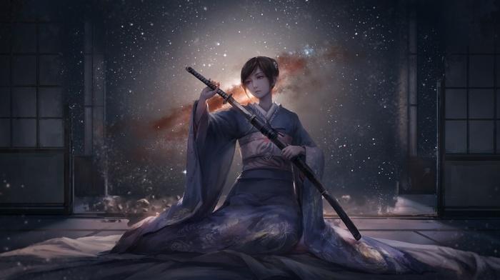kimono, katana, room, anime girls, short hair, Japanese clothes, sword, original characters, anime