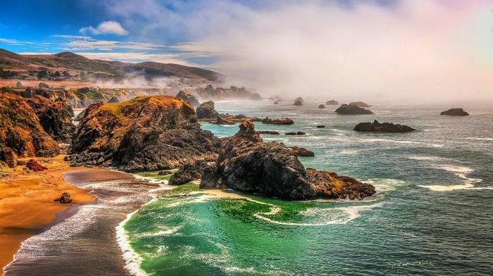 nature, beach, rocks, coast, landscape, sea, mist, hills, california