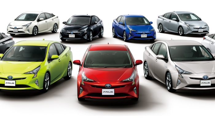vehicle, multiple display, electric car, simple background, car, Toyota Prius, dual monitors
