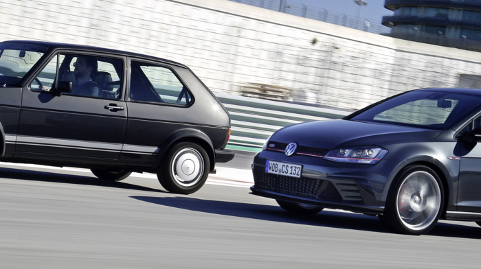 motion blur, vehicle, Volkswagen Golf GTI, race tracks, car
