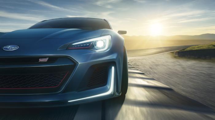 vehicle, race tracks, concept cars, motion blur, car, closeup, evening, Subaru BRZ STI