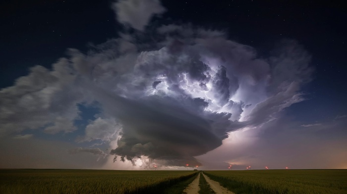 road, nature, lightning, storm, clouds, field