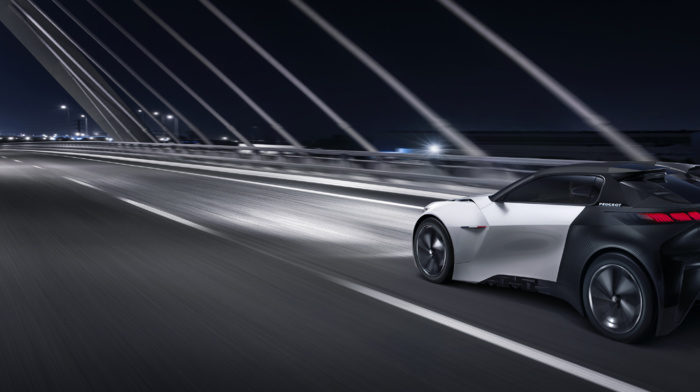 vehicle, electric car, road, Peugeot Fractal, motion blur, lights, bridge, concept cars, night, car