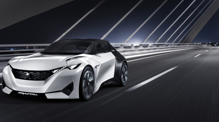 lights, motion blur, Peugeot Fractal, bridge, car, concept cars, electric car, night, vehicle, road