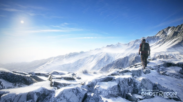 Tom Clancys Ghost Recon, snowy peak, mountains, Tom Clancys Ghost Recon Wildlands, military, commando, Tom Clancys, video games, weapon