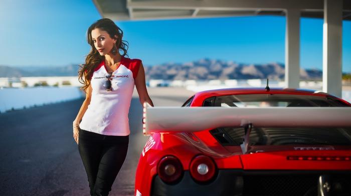 red, ferrari f430, model, T, shirt, bare shoulders, girl, car, brunette, girl with cars, looking at viewer, pants, F430, Ferrari, Janice Kakish