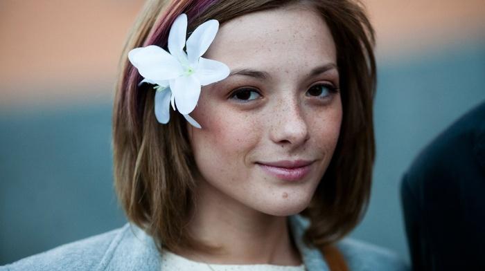 Olga Kobzar, face, freckles, girl, looking at viewer, flower in hair
