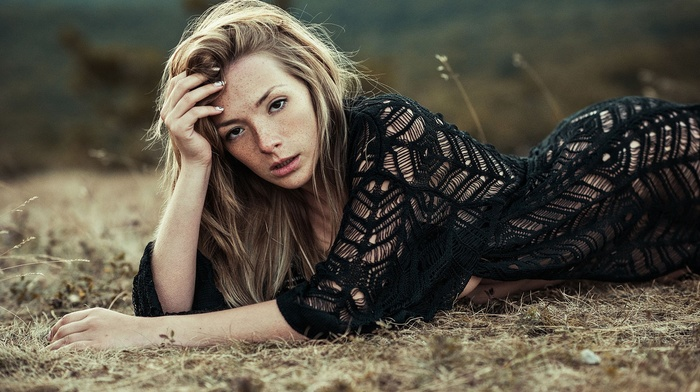 girl, looking at viewer, girl outdoors, Olga Kobzar, see, through clothing, lying down, freckles