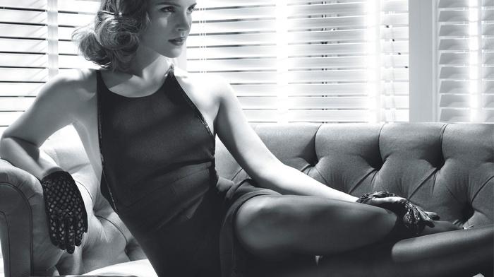 actress, legs, monochrome, Emma Watson, vintage