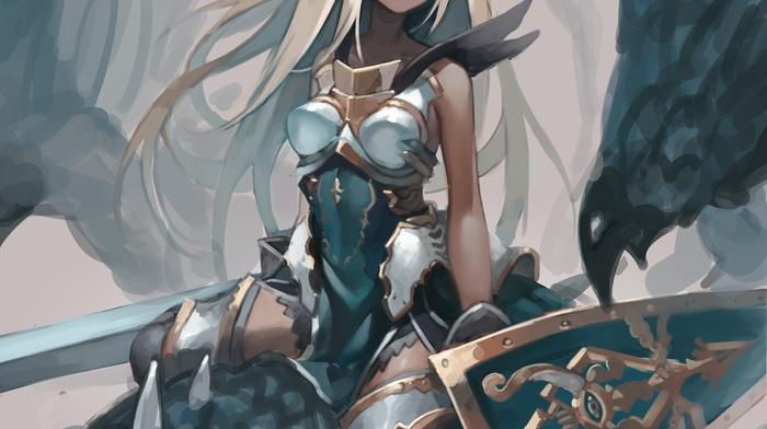 long hair, sword, Granblue Fantasy, the order grande, red eyes, anime girls, anime, shield, armor