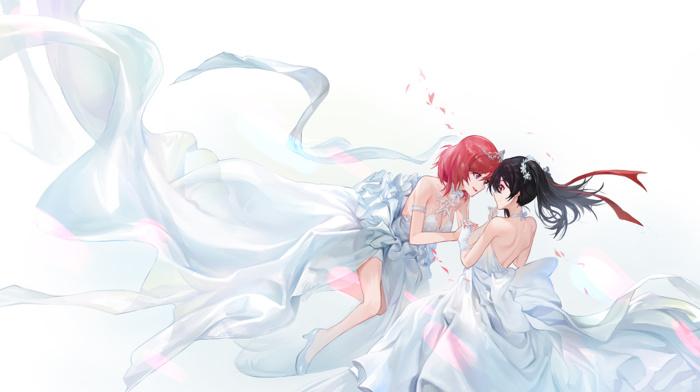 anime, Yazawa Nico, anime girls, Nishikino Maki, dress, wedding dress, Love Live, redhead