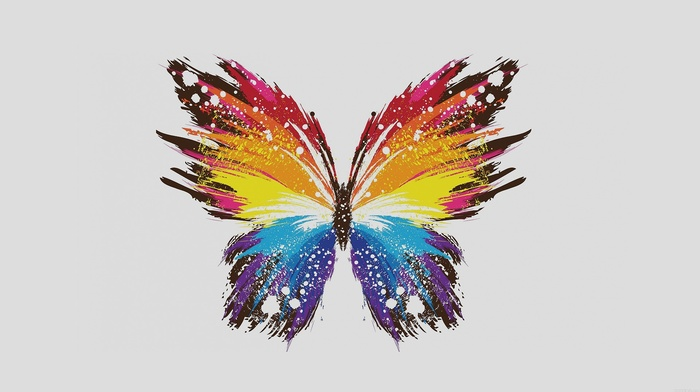 colorful, digital art, minimalism, simple background, butterfly, white background, simple, paint splatter, wings