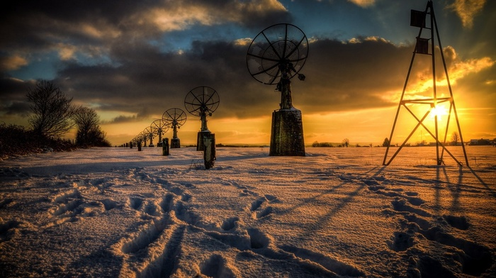 technology, antenna, landscape, HDR, sun rays, winter, snow, nature, trees, clouds, satellite
