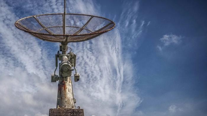 clouds, metal, abandoned, technology, satellite, nature, screws, landscape, antenna, rust