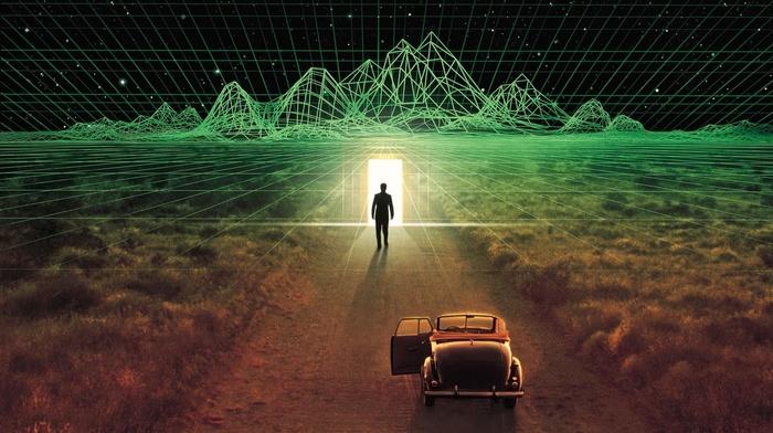road, movie poster, old car, low poly, science fiction, men, movies, grid, digital art, Thirteeth Floor, door, silhouette