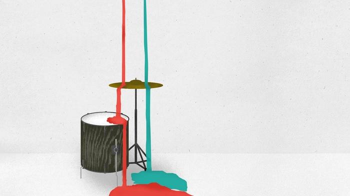digital art, paint splatter, white background, musical instrument, minimalism, drums