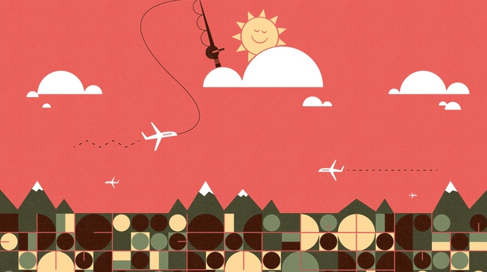 geometry, square, airplane, circle, mountains, smiling, humor, fishing rod, digital art, clouds, Sun
