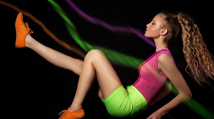 black background, neon, legs, 1980s, makeup, long hair, blonde, fashion, girl, model, tight clothing, braids, wavy hair