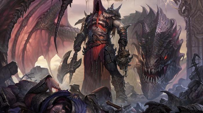 fantasy art, hero, dragon
