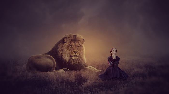 photo manipulation, lion, photoshop, fantasy art, girl, magic, fantasy girl, MohammadKhan