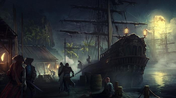 pirates, fantasy art, ship