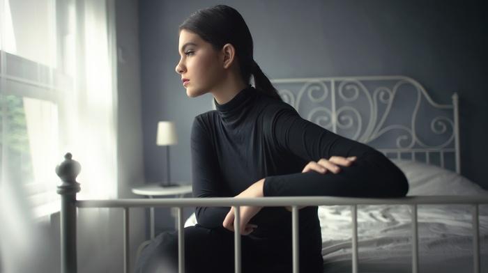 profile, sitting, girl, bed, black hair