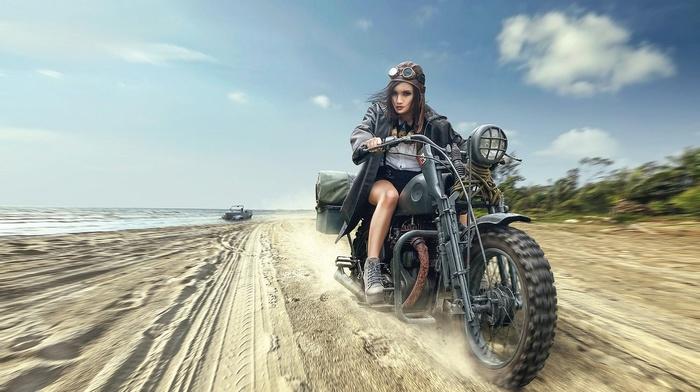 girl, motorcycle, high heels, girl with motorcycles