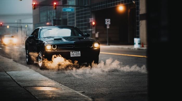 urban, traffic lights, street, car, smoke