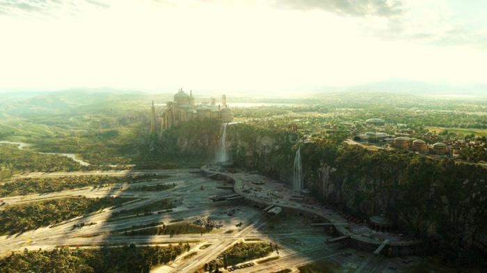 landscape, naboo, cliff, sunlight, Star Wars